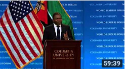 Presidente de Moçambique Filipe Jacinto Nyusi - Columbia World Leaders Forum (Português)